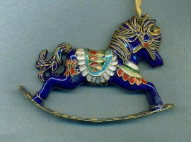 Enameled Blue Rocking Horse Ornament
