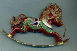 Enameled Brown Rocking horse Ornament