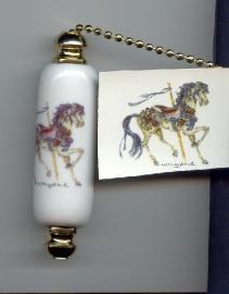 Blue horse fan pull