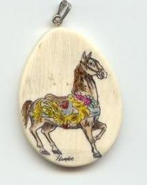 Large carousel horse pendant