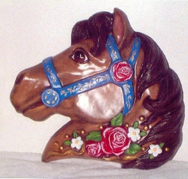 Brown horse w/ red roses