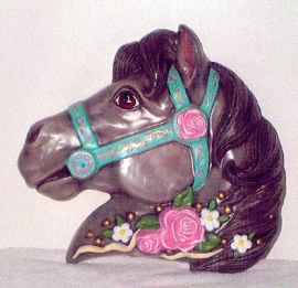 Charcoal horse w/pink roses