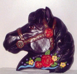 Black horse w/red roses